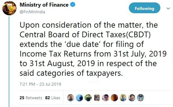 CBDT extends ITR due date