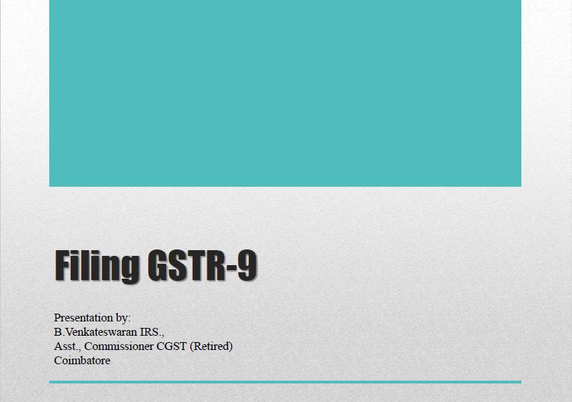Guide to file GSTR 9
