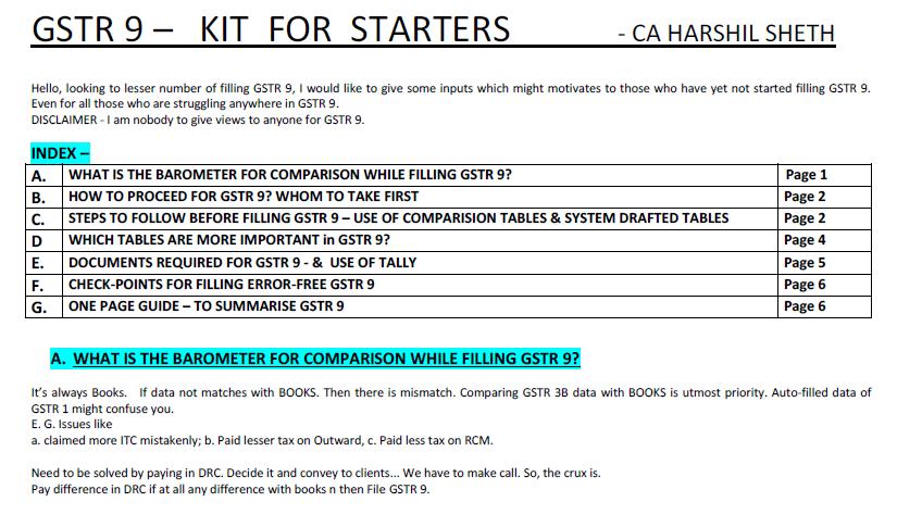 GSTR 9 – Kit for Starters