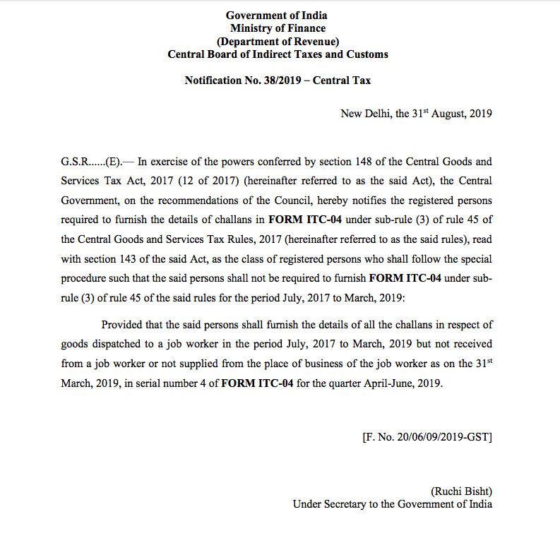 ITC 04 waived off for two year - CONSULTEASE COM