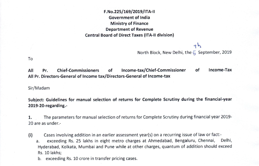 manual selection of returns for detailed scrutiny
