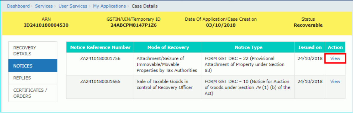Manual Filing reply to Form GST DRC-22 against proceedings initiated for recovery of taxes.dt.7.11.19.pdf 2019-11-07 14-54-43