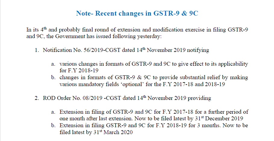 Note on Recent changes in GSTR-9 & 9C