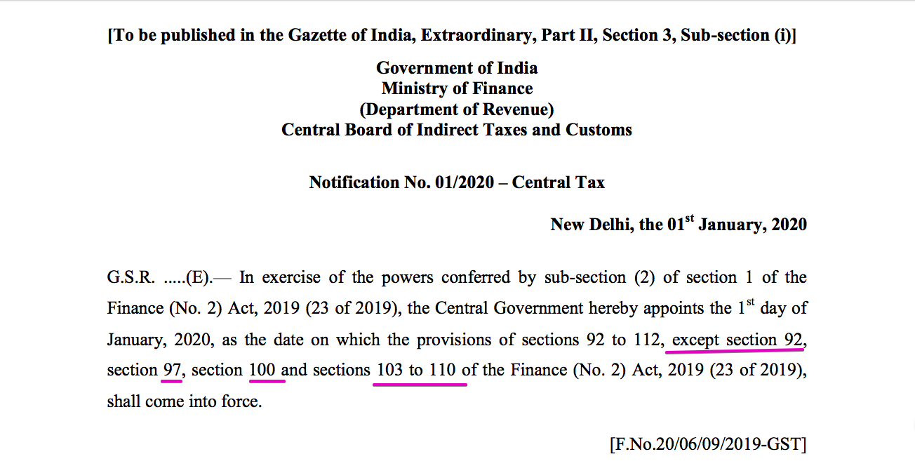 GST provisions notified from 1.01.2020