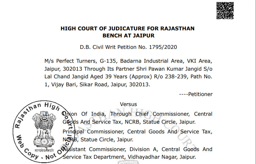 Interest demand stayed by the Rajasthan High court