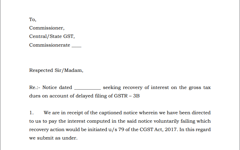 Draft reply to sec 50 , interest notices