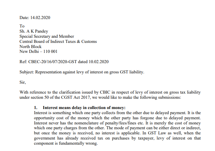 Representation against levy of interest on gross GST liability.