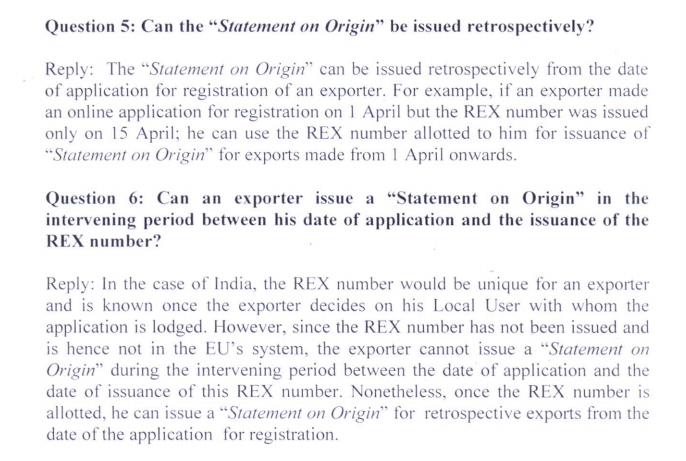 Trade Notice to keep control of exporters using a self-certified system