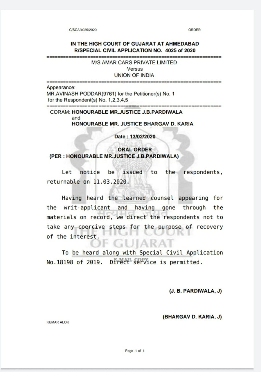 Stay given by the Hon'ble GHC against recovery of interest u/s.50 of the GST Act