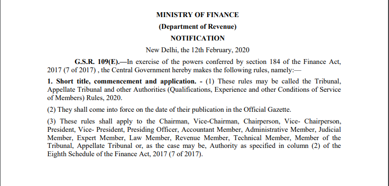Govt. Notifies New Rules to Appointment in The Tribunals