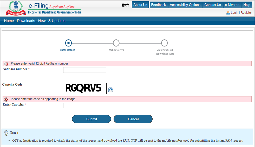 Instant PAN Allotment in Near to Real-Time is Available at Free of Cost.