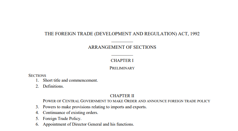 THE FOREIGN TRADE (DEVELOPMENT AND REGULATION) ACT, 1992