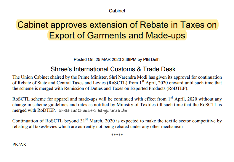 Cabinet approves extension of Rebate in Taxes on Export of Garments and Made-ups