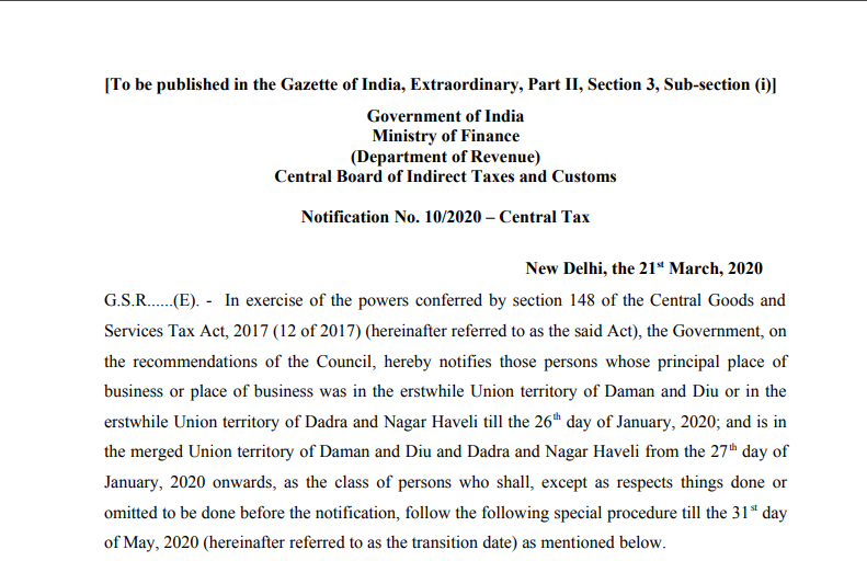 Special procedure for taxpayers in Dadra and Nagar Haveli and Daman and Diu consequent to merger of the two UTs