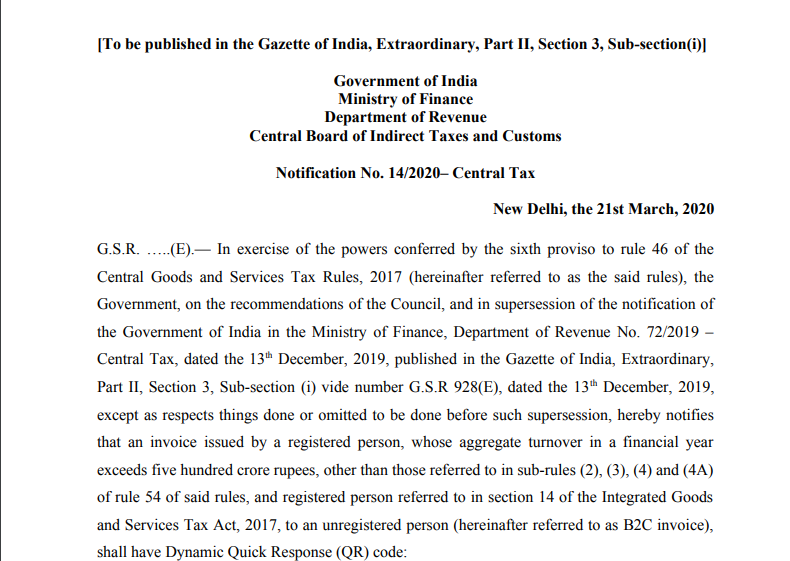 Provisions related to QR code to be applicable from 1st Oct 2020