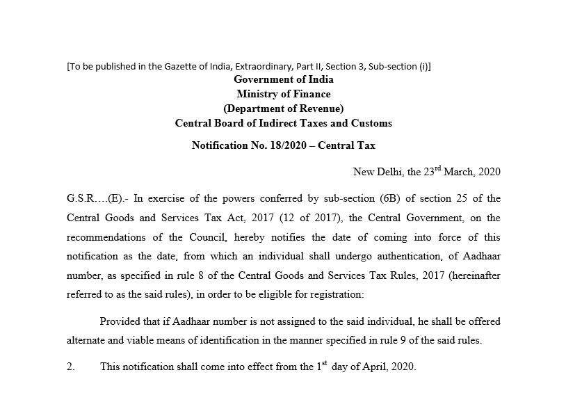 Adhaar is mandatory for GST registration from 1st April 2020