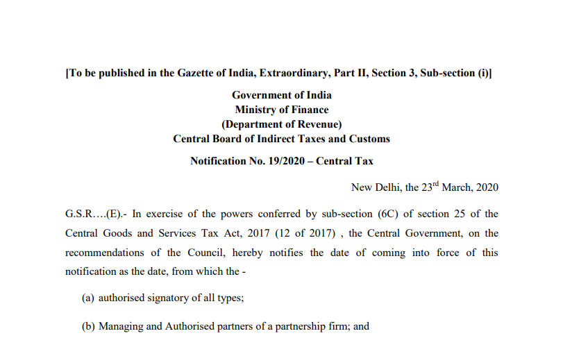 Notify class of person liable for authentication of Adhaar