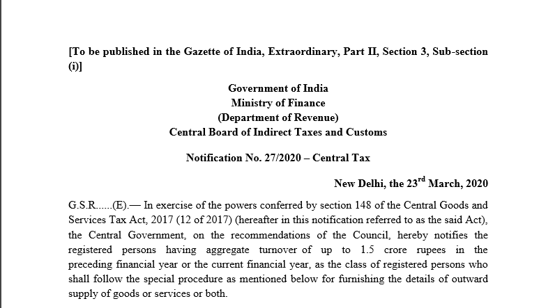Due date of GSTR-1 for up to 1.5 Cr TO in PFY