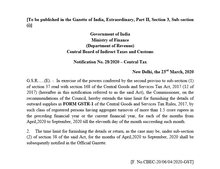 Due date of GSTR-1 for more than 1.5 Cr TO in PFY