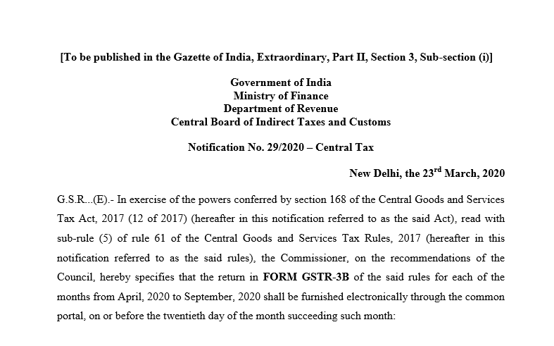 Due date of GSTR-3B from April to September.