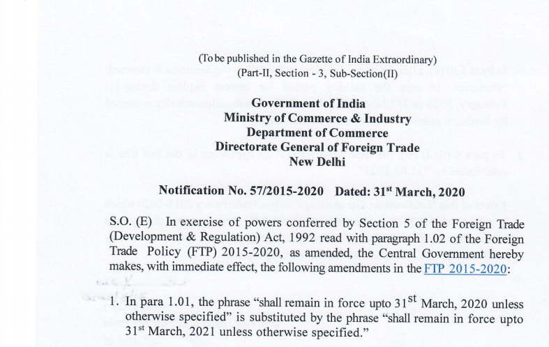 Foreign trade policy 2015-20 extended to 31st March 2021