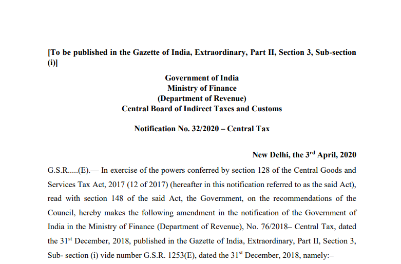 Conditional waiver of late fee for delay in furnishing returns in FORM GSTR-3B for tax periods of February, 2020 to April, 2020.