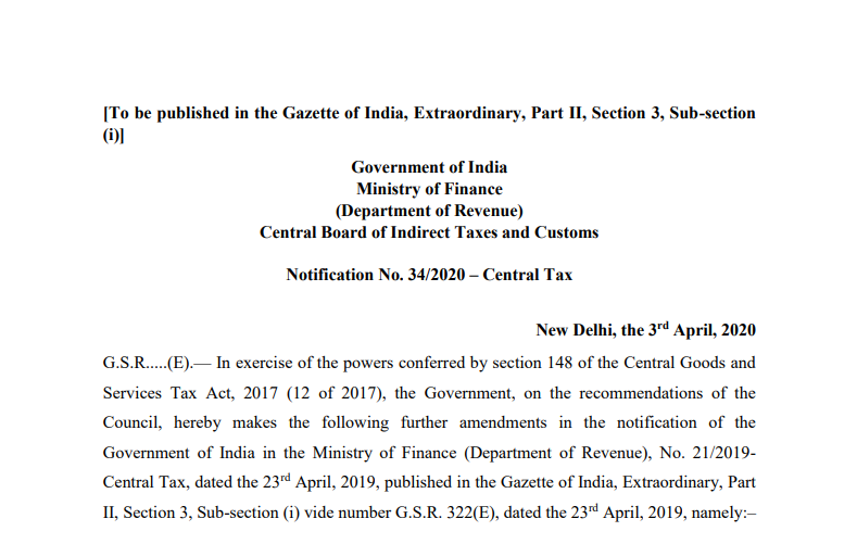 Extend due date of furnishing FORM GST CMP-08 for the quarter ending March 2020 till 07.07.2020 and filing FORM GSTR-4 for FY 2020-21 till 15.07.2020.