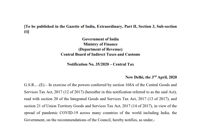 """Extend due date of compliance which falls during the period from """"20.03.2020 to 29.06.2020"""" till 30.06.2020 and to extend the validity of e-way bills."""