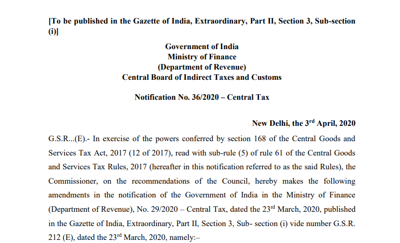 Extend due date for furnishing FORM GSTR-3B for supply made in the month of May 2020.