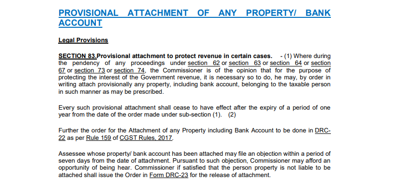 Provisional Attachment of Property including Bank Account