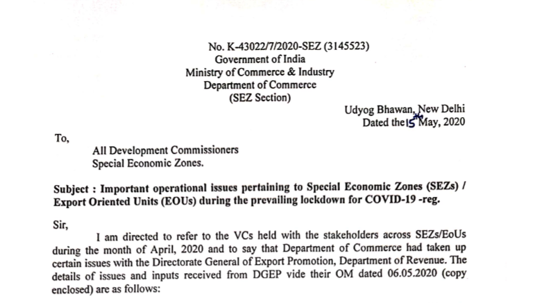 Important operational issues pertaining to Special Economic Zones