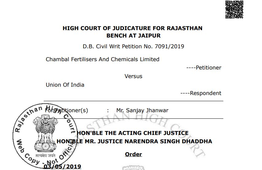 Rajasthan HC in the case of Chambal Fertilisers And Chemicals Limited  Versus  Union Of India