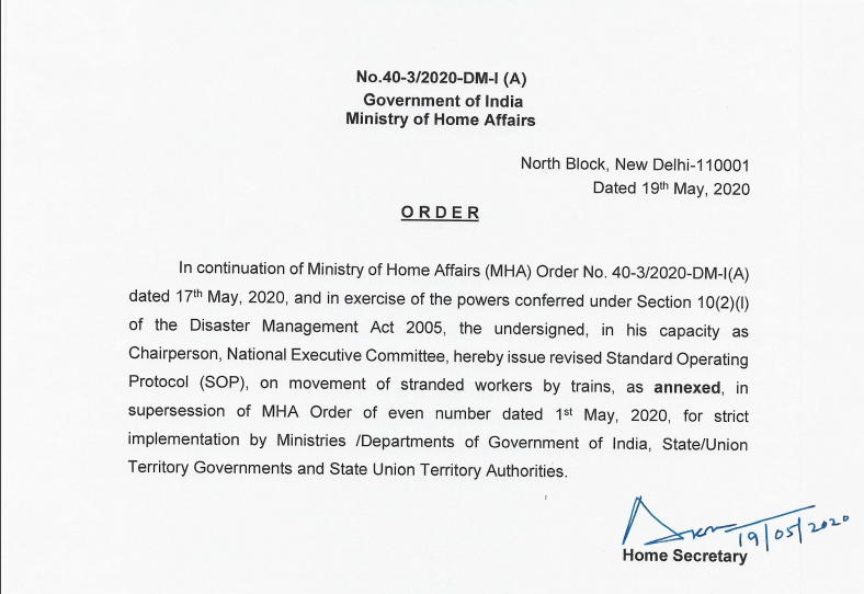 MHA Order Dt. 19.5.2020 Regarding Revised SoPs on Movement of Stranded Workers by Trains