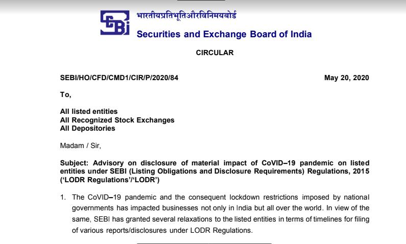 Advisory on Disclosure Under Regulation 30 of SEBI LODR Regulations