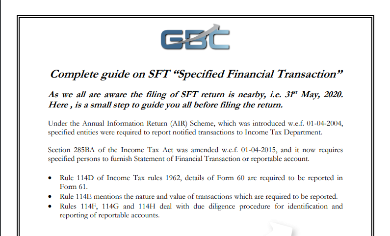 "Complete guide on SFT ""Specified Financial Transaction"""