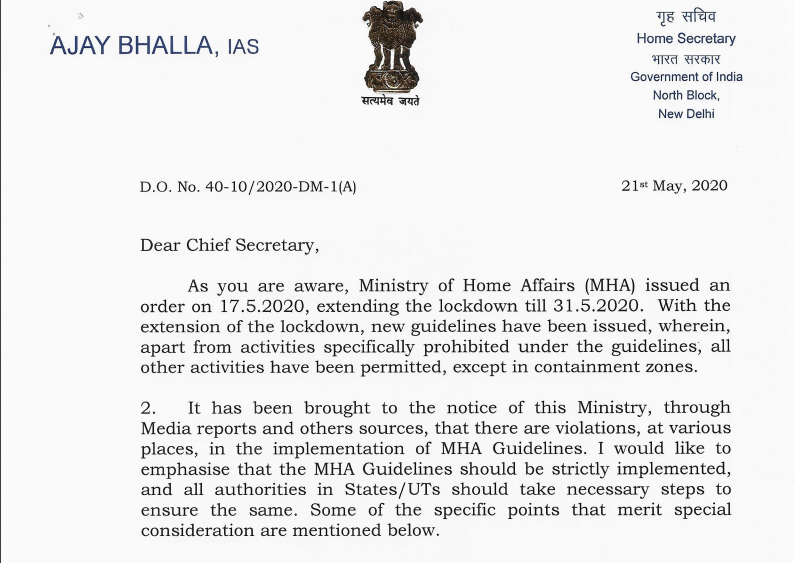 MHA DO Lr. Dt. 21.5.2020 to Chief Secretaries and Administrators reg. violations in MHA guidelines and ensure proper implementation of the guidelines