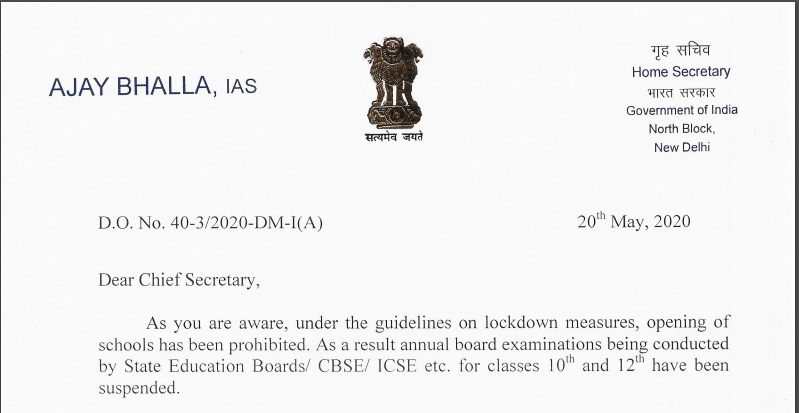 MHA DO Lr. Dt. 20.5.2020 to Chief Secretaries and Administrators reg. exemption for conduct of Board Examinations