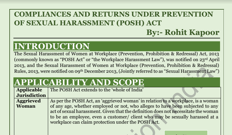 Compliances and Returns Under Prevention of Sexual Harassment (POSH) Act