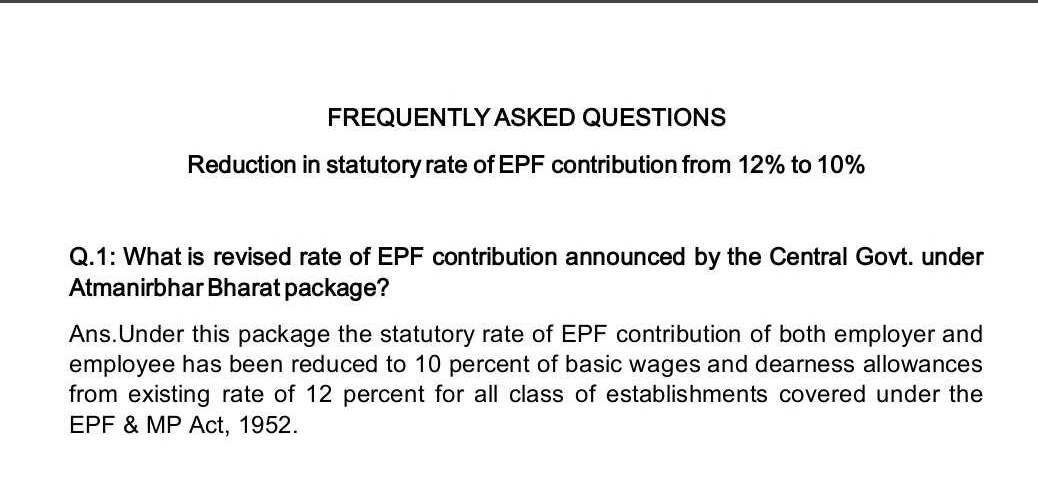 Reduction in Statutory Rate of EPF Contribution from 12% to 10%: FAQs