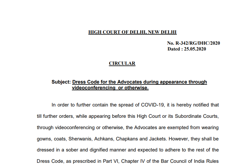 Dress Code for the Advocates during appearance through videoconferencing or otherwise.