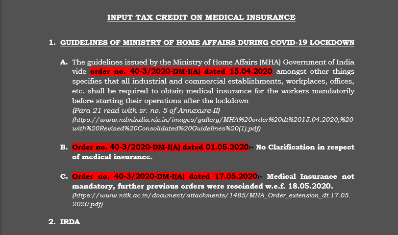 Input Tax Credit on Medical Insurance
