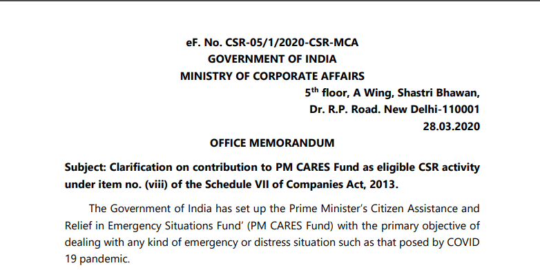 MCA Clarification- Contribution towards PM CARES Fund will Qualify as Eligible CSR Activity