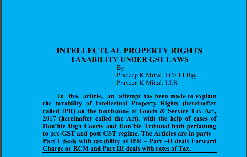 Intellectual Property Rights Taxability Under GST Laws