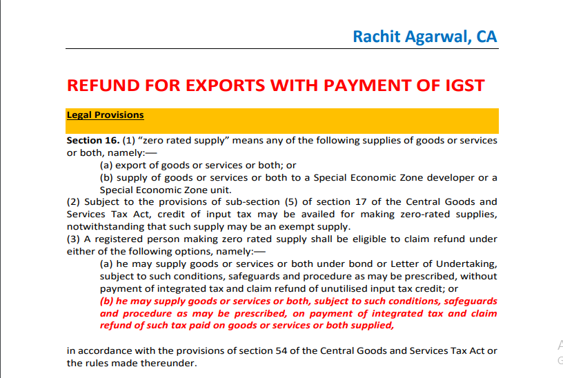 Refund For Exports With Payment of IGST