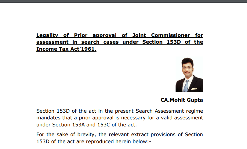 The legality of Prior approval of the Joint Commissioner for assessment in search cases under Section 153D of the Income Tax Act 1961.