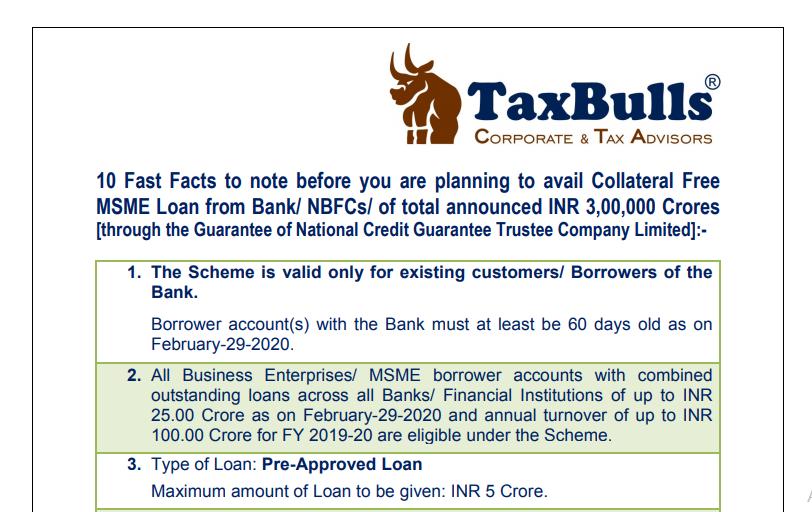 MSME Loans - Sailent Features