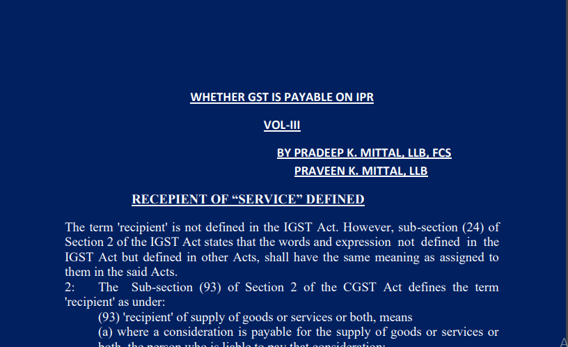 Whether GST is Payable on IPR Vol-III