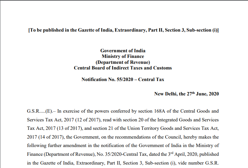 Notification No. 55/2020–Central Tax