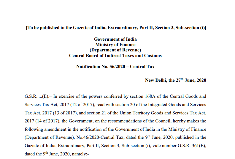 Notification No. 56/2020 – Central Tax
