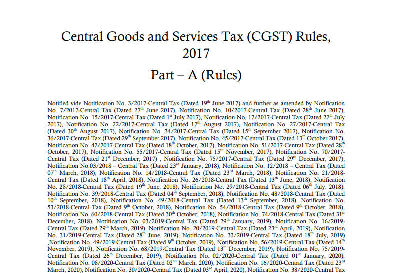Download CGST Rules Updated Till 18th May 2021